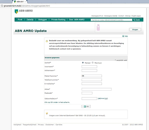 Phishing-website ABN AMRO