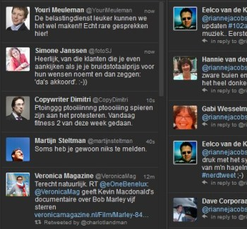Screenshot van Tweetdeck