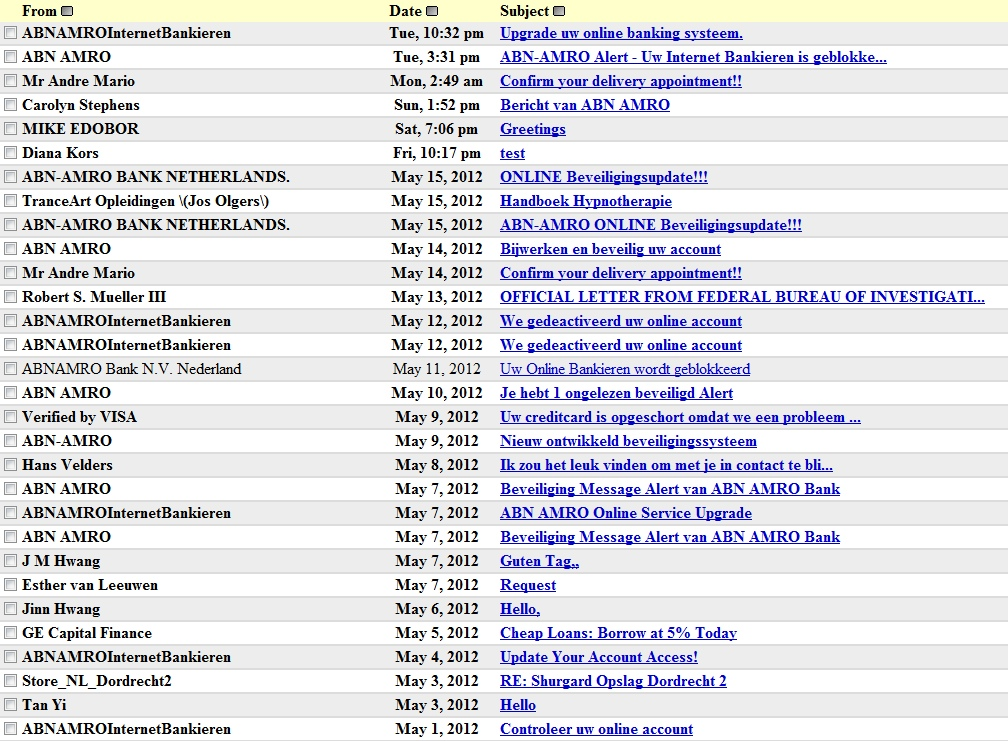 phishing-hausse volgelopen inbox met phishing-mail ABN AMRO