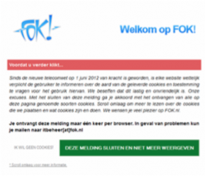 Fok.nl cookies melding