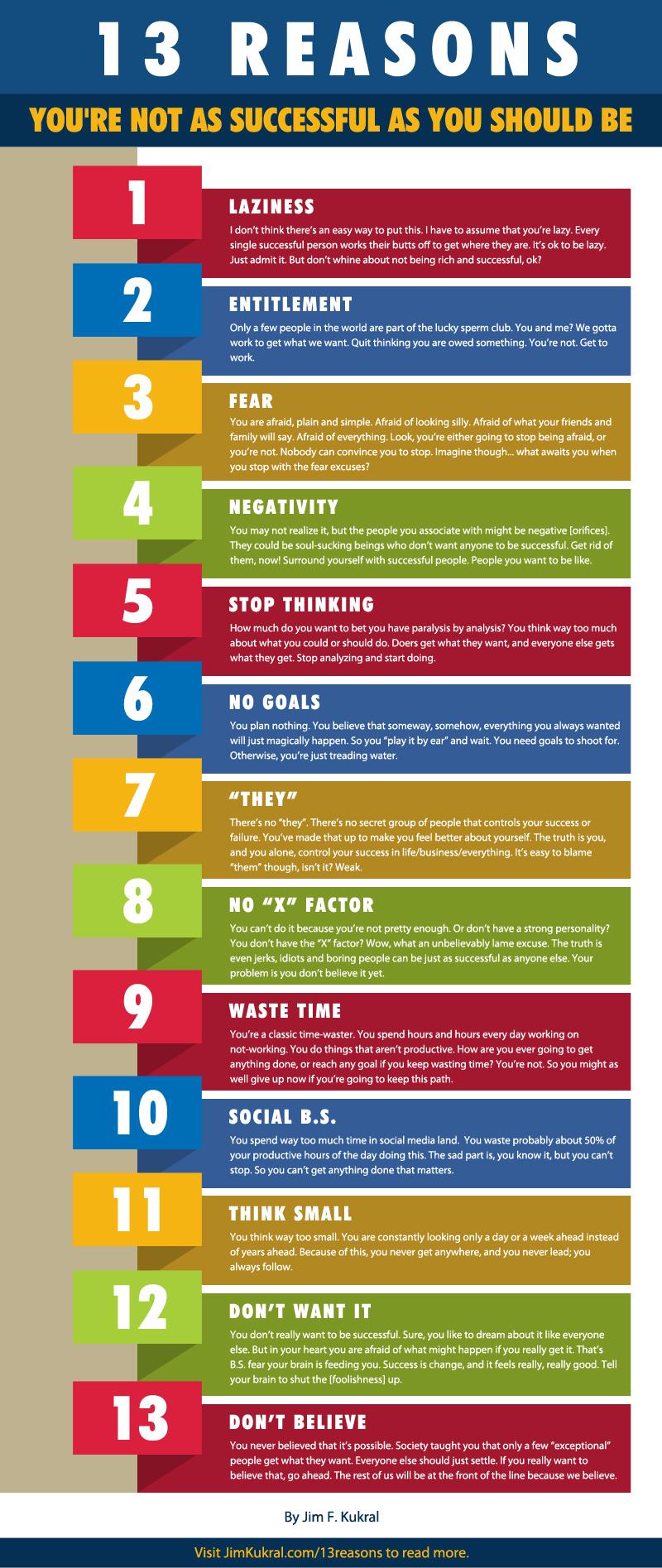 [Infographic] 13 redenen waarom je niet succesvol bent